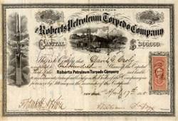 Roberts Petroleum Torpedo Company - Civil War Era  - 1865