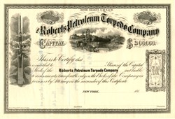 "Roberts Petroleum Torpedo Company - (Roberts' ""Exploding Torpedo"" was the birth of modern-day shale fracking) - Civil War Era - 186_"