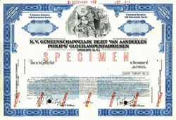 Royal Philips Electronics - Philips N.V.  Philips Gloeilampenfabriken Specimen Stock Certificate- Netherlands 1972