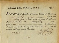 Collection Receipt, Baltimore - Robert Purviance - Baltimore, Maryland 1798