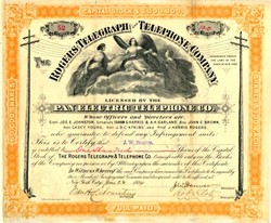 Rogers Telegraph and Telephone Co. (Licensed by Pan Electric Telephone Co.) signed by James Webb Rogers - New York 1884