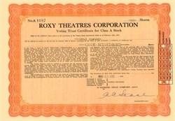 Roxy Theatres Corporation Stock 1930's