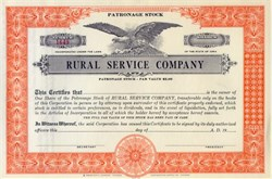 Rural Service Company Patronage Stock 1930's