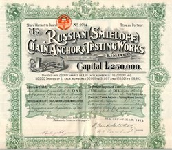 Russian (Smieloff) Chain, Anchor & Testing Works Limited - 1911