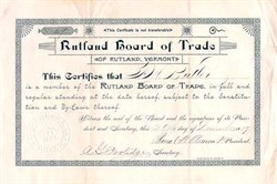 Rutland, Vermont Board of Trade - 1889