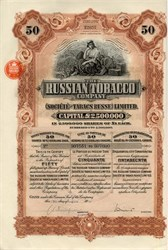 Russian Tobacco Company (Pre Revolution Tobacco Trust)- Russia 1915