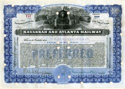 Savannah and Atlanta Railway (Scarce) - Georgia 1917
