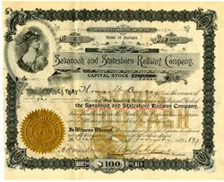 Savannah and Statesboro Railway Company (Signed by Stilson Hutchins, founder and publisher of the Washington Post) - Georgia 1897