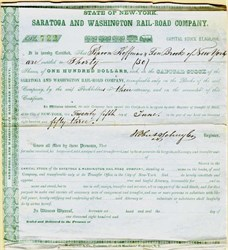 Saratoga and Washington Rail-Road Company signed by fraudster, Robert Schuyler - New York 1853
