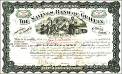 Savings Bank of Griffin - Griffin is the Birthplace of Doc Holliday  (Great Picture on Certificate) , Georgia 1895