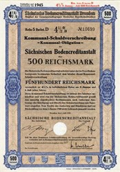 Sachsischen  Bodencreditanstalt  Mortgage Bank - Dresden, Germany  WWII Era