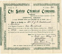 Safety Chemical Company, Limited - England 1911