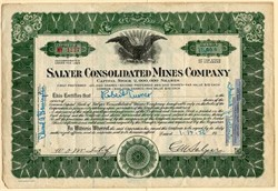 Salyer Consolidated Mines Company signed by CM Salyer (Namesake of Salyer, California)  - Delaware 1956