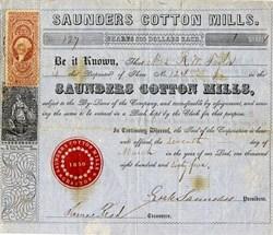 Saunders Cotton Mills - Grafton, Saundersville, Massachusettes 1872