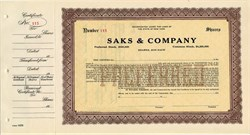 Saks & Company ( 6% Cumulative Preferred Stock)  - New York 1922