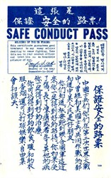 Original Safe Conduct Pass - Korean War - Douglas MacArthur's printed signature