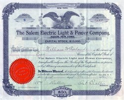 Salem Electric Light & Power Company - Salem, New York 1898