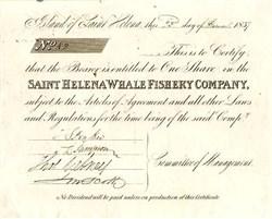 Saint Helena Whale Fishery Company - (Island of Saint Helena) 1837