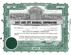 Salt Lake City Baseball Corporation (Hollywood Stars and Salt Lake City Bees of the PCL) - 1958