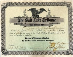 Salt Lake Tribune School Champion Speller Certificate - 1931