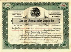 Sanitary Manufacturing Corporation - Delaware 1917