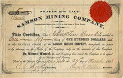 Samson Mining Company -  New Jersey 1873