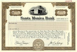 Santa Monica Bank Stock Certificate - California 1975