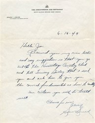 Sam Snead Handwritten and Signed Letter - 1949