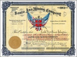 Santa Ana Mining Company (Early and Colorful) - Territory of Arizona 1898 - Founders Share - Black Diamond District