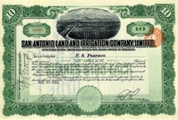 San Antonio Land and Irrigation Company, Limited (Signed by Frederick Stark Pearson died on RMS Lusitania ) - Texas 1911