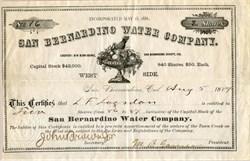 San Bernardino Water Company - California 1884