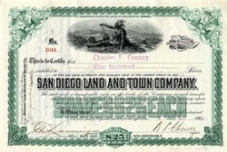 San Diego Land and Town Company 1898 (Sweetwater Dam Builder)