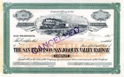 San Francisco and San Joaquin Valley Railway Company - California 1895