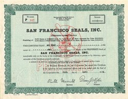San Francisco Seals, Inc. Baseball Team (Pre S.F. Giants) - California 1954