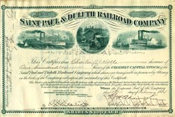 Saint Paul & Duluth Railroad Company - Minnesota 1884