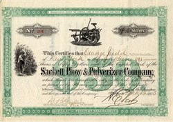 Sackett Plow & Pulverizer Company signed by Orange Judd - New York 1883