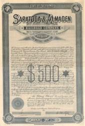 Saratoga & Almaden Railroad Company 1885 - California