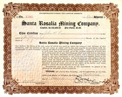 Santa Rosalia Mining Company - Arizona - Dateline Calumet, Michigan 1911