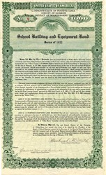 School Building and Equipment Bond - Wilkes-Barre Township, Pennsylvania 1922