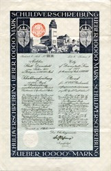 Uncancelled City of Darmstadt Loan of 1922 10000 Mark Schuldverschreibung (scarce variety)- Germany