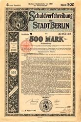 Schuldverfchreibung der Stadt Berlin 500 Mark (WWI) - Germany 1919