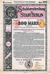 Schuldverschreibung der Stadt Berlin (WWI Era) - Germany 1914
