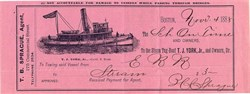 """Schooner """"On Time""""  Tug Boat Services - Boston, Massachusetts 1888"""