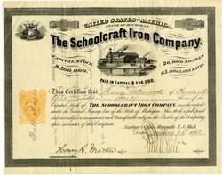 Schoolcraft Iron Company (RARE) Imprinted 25ct Revenue Stamp - Munising, Michigan 1868
