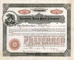 Scranton Luna Park Company (RARE) - Pennsylvania 1906
