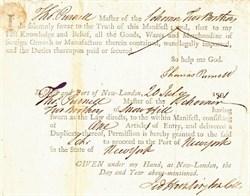 Ship Master's declaration for Schooner signed by Revolutionary War General,  Jedediah Huntington - New London 1801