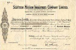 Scottish Mission Industries Company Limited - Edinburgh, Scotland 1928