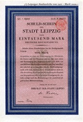 Leipzig, Stadt Leipzig Schuldschein 1000 Mark 1922 uncancelled Bond Loan  - Germany