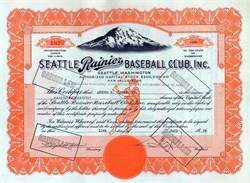 Seattle Rainier Baseball Club, Inc signed by Emil Sick - Washington 1939