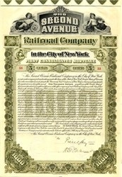 Second Avenue Railroad Company $1000 Gold Bond signed by the first chairman of the Federal Reserve Bank of New York - New York 1898